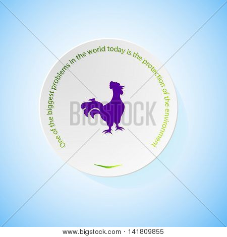 Environmental icons depicting cock with shadow, abstract vector illustration