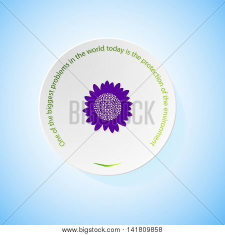 Environmental icons depicting sunflower with shadow, abstract vector illustration