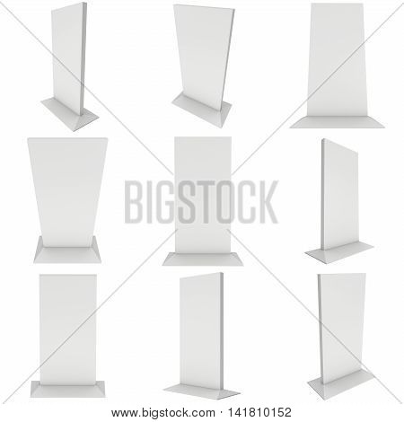 LCD TV Stand. Blank Trade Show Booth Set. 3d render of lcd tv isolated on white background. High Resolution ad template for your expo design.