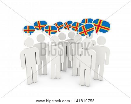 People With Flag Of Aland Islands