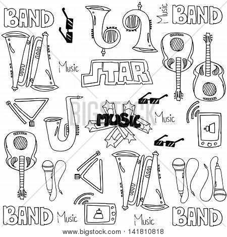 Music object set doodles stock collection vector illustration