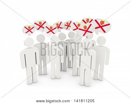 People With Flag Of Jersey