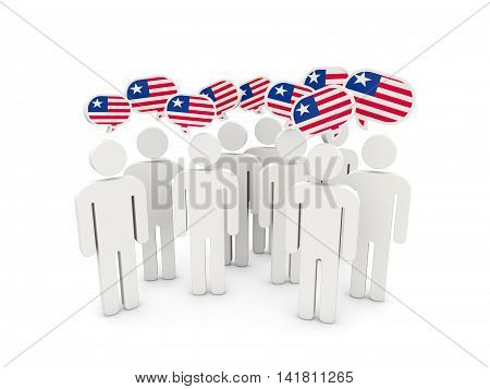People With Flag Of Liberia
