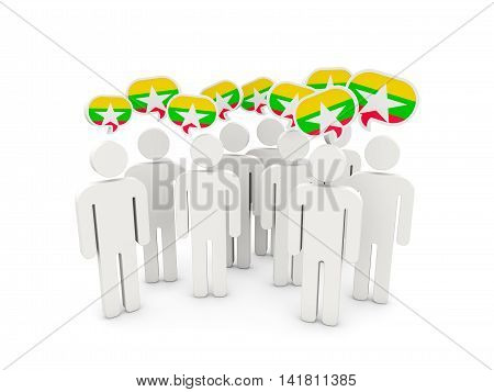 People With Flag Of Myanmar
