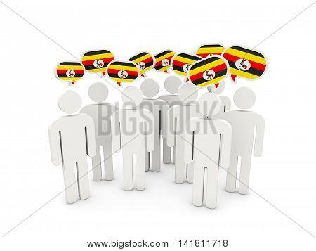 People With Flag Of Uganda
