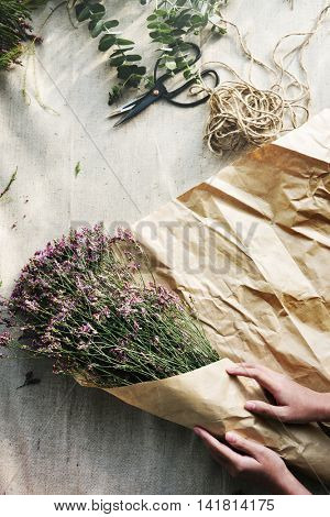 Making Flower Bouquet Floral Gift Present Concept