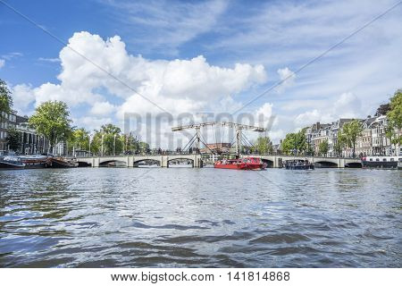 An image of a view to Amsterdam by boat