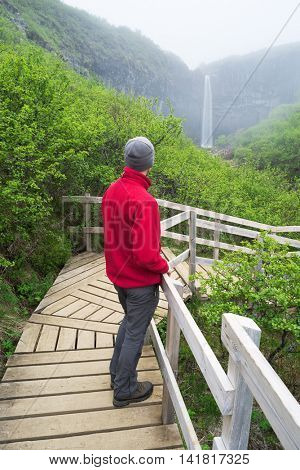 Man traveler in red jacket standing on a wooden bridge. Cloudy summer morning. Skaftafell National Park, Svartifoss waterfall, Iceland, Europe. Natural tourist attraction