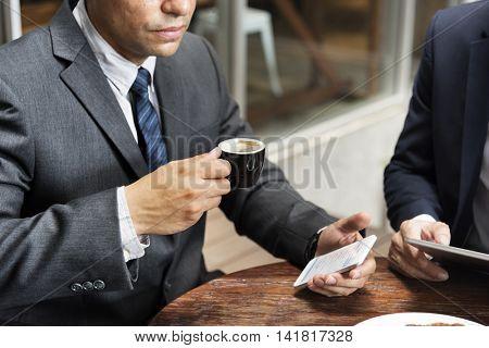 Businessman Coffee Break Phone Concept