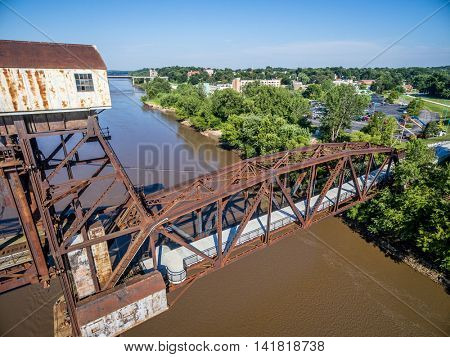 Historic railroad Katy Bridge  over Missouri River at Boonville with a new viewing deck - aerial view