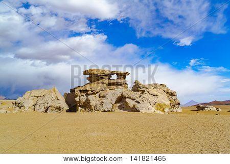 Rock formation at Reserva Nacional De Fauna Andina Eduardo Avaroa Potasi Bolivia
