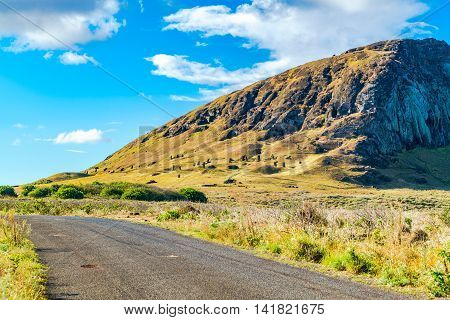 View of Moai in the quarry at the Volcano Rano Raraku in Easter Island Rapa Nui, Chile