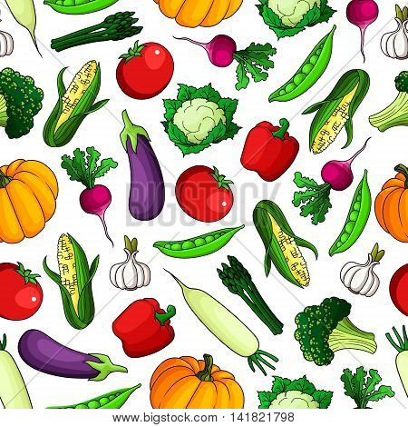 Red sweet bell peppers, tomatoes and pumpkins, ripe eggplants, cauliflowers and corn, zesty radishes and garlic, green peas, broccoli and bundles of asparagus vegetables seamless pattern background