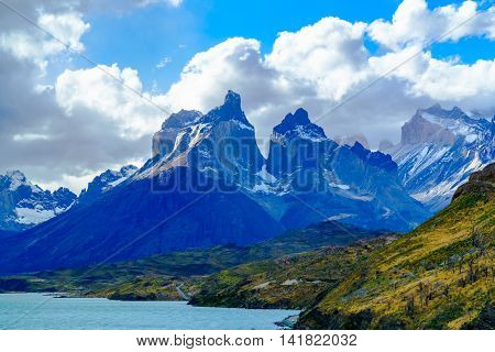 View of Cuernos Del Paine at Lake Pehoe in Torres Del Paine National Park Chile