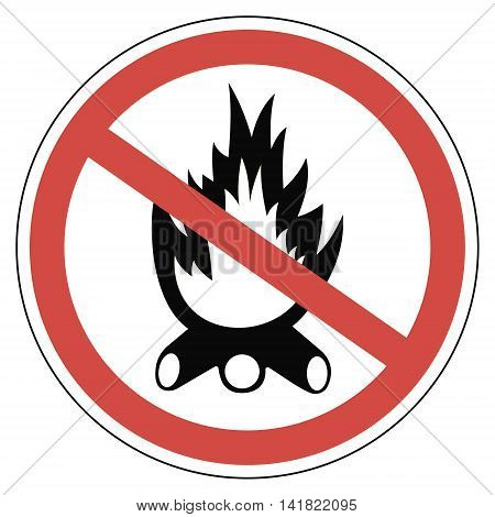 Sign campfires are prohibited, anti fire sign, vector for print or website design