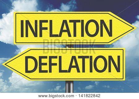 Inflation x Deflation yellow sign