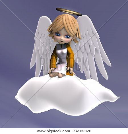 cute cartoon angel with wings and halo
