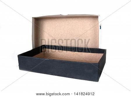 Open black boxes isolated on white background