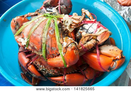 Close up of boiled fresh crab prepared for dinner.