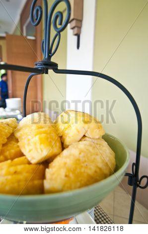 fresh of pineapple fruit for eat in buffet