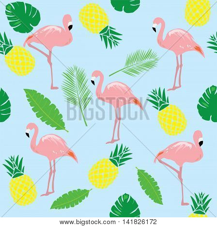 vector illustration of flamingos seamless background with pineapples and palm tree branches