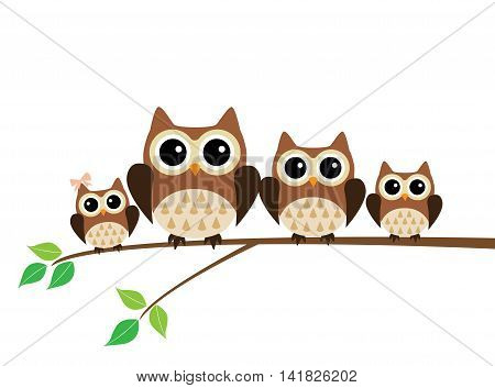 vector illustration of a fun owl family