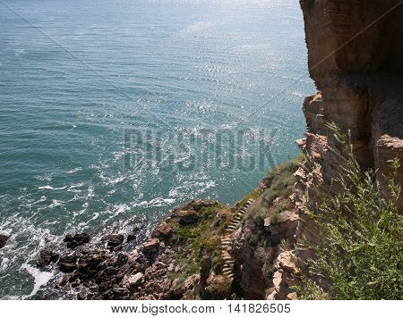 The staircase, which goes along the cliff