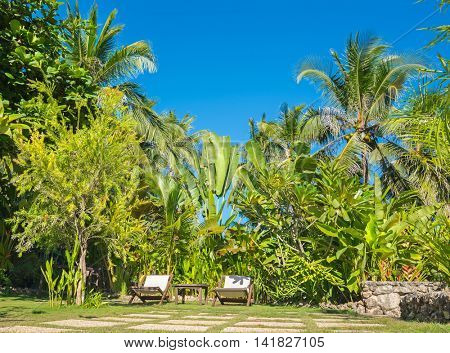 Tropical beach background from Anda White Beach at Bohol island with beach chairs and   blue sky and palm trees. Travel Vacation