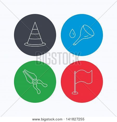 Flag, traffic cone and oil change icons. Pliers linear sign. Linear icons on colored buttons. Flat web symbols. Vector
