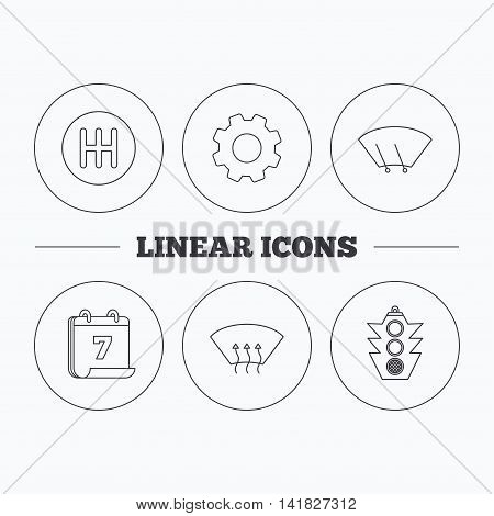 Traffic lights, manual gearbox and wiper icons. Heated window, manual transmission linear signs. Washing window icon. Flat cogwheel and calendar symbols. Linear icons in circle buttons. Vector