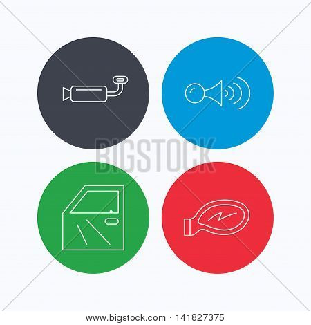 Car door, muffler and klaxon signal icons. Car mirror linear sign. Linear icons on colored buttons. Flat web symbols. Vector