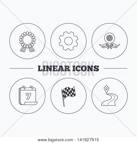 Winner award medal, destination and flag icons. Race flag, wheel on fire linear signs. Flat cogwheel and calendar symbols. Linear icons in circle buttons. Vector