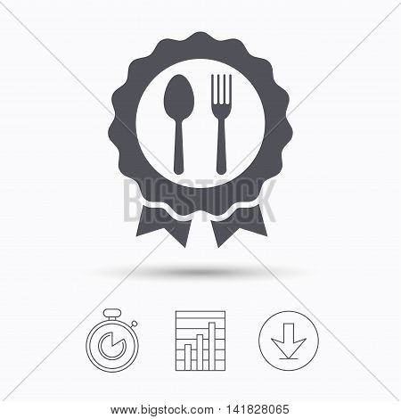 Award medal icon. Food winner emblem symbol. Fork and spoon signs. Stopwatch, chart graph and download arrow. Linear icons on white background. Vector
