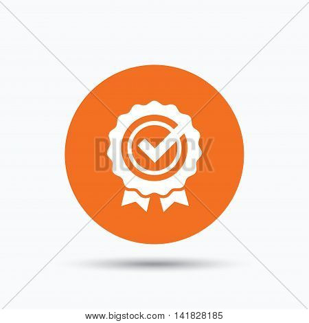 Award medal icon. Winner emblem with tick symbol. Orange circle button with flat web icon. Vector