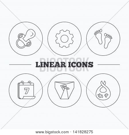 Pacifier, diapers and footprint icons. Dirty bib linear sign. Flat cogwheel and calendar symbols. Linear icons in circle buttons. Vector