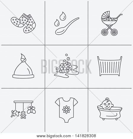 Baby clothes, bath and hat icons. Pram carriage, spoon with drops linear signs. Socks, baby toys and bubbles flat line icons. Linear icons on white background. Vector