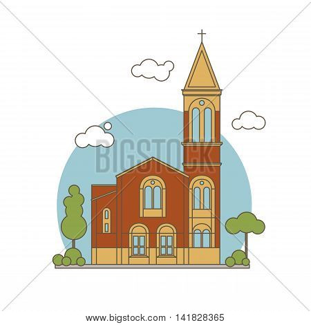 Flat Church Illustration