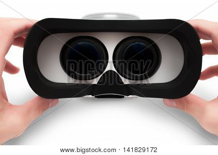 Man hands holding virtual glasses, VR goggles headset isolated on white background