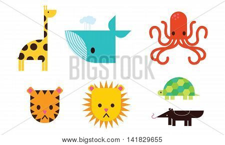 set of animal icons and cartoons of wild animals