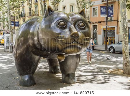 Barcelona Spain - July 4 2016: Sculpture El Gato de Botero of cat in the El Raval district of Barcelona