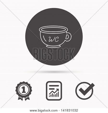Baby wc pot icon. Child toilet sign. Washroom or lavatory symbol. Report document, winner award and tick. Round circle button with icon. Vector