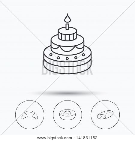 Croissant, cake and bread icons. Sweet donut linear sign. Linear icons in circle buttons. Flat web symbols. Vector