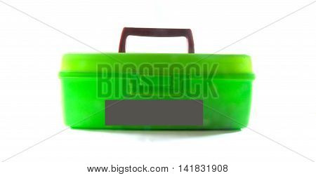 One of green toolbox on white background