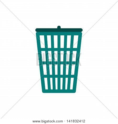 Green trash basket icon in flat style isolated on white background
