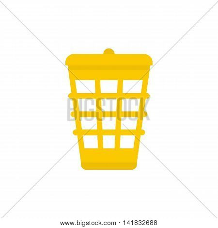 Yellow garbage basket icon in flat style isolated on white background