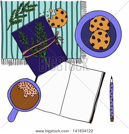 Coffee cup, notebook, pen and cookies on white background. Mockup, template for design