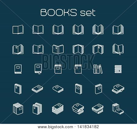 Line art books set. White books icons on blue bckground. Vector illustration