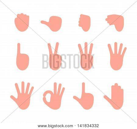 Set of 12 hand gestures. Fist, pointing, like, dislike, victory, palm, ok, gun, hold. Cartoon vector flat-style illustration