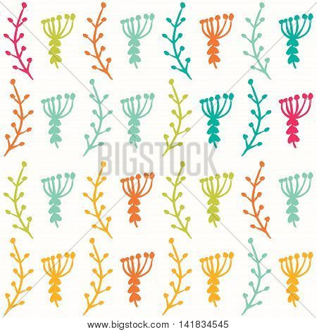 Simple cute floral background with flowers and branches. Seamless pattern for your design.