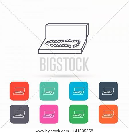 Jewellery box icon. Luxury precious sign. Linear icons in squares on white background. Flat web symbols. Vector